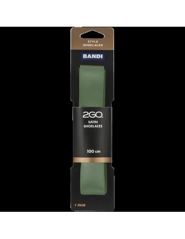 Skosnöre Satin, Platt, 100 cm, Olivgrön